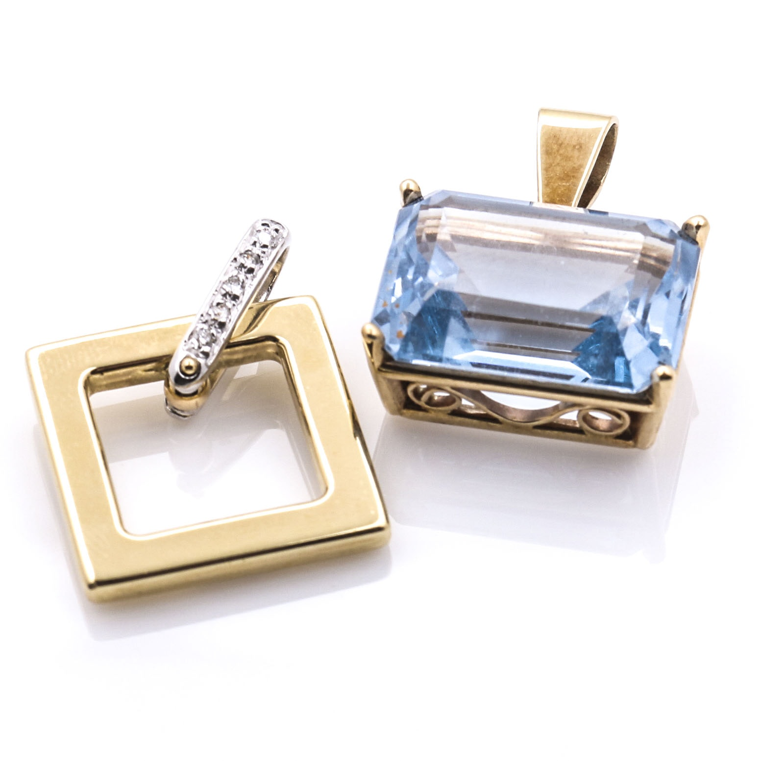 Two 14K Yellow Gold Spinel and Diamond Pendants