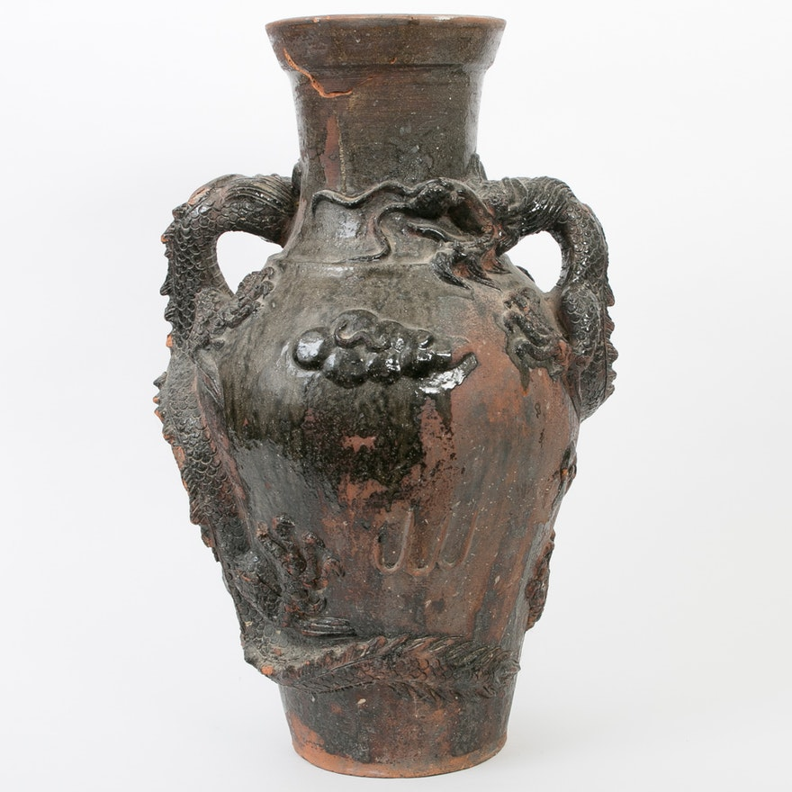 Chinese Glazed Terracotta Floor Vase With Dragon Handles