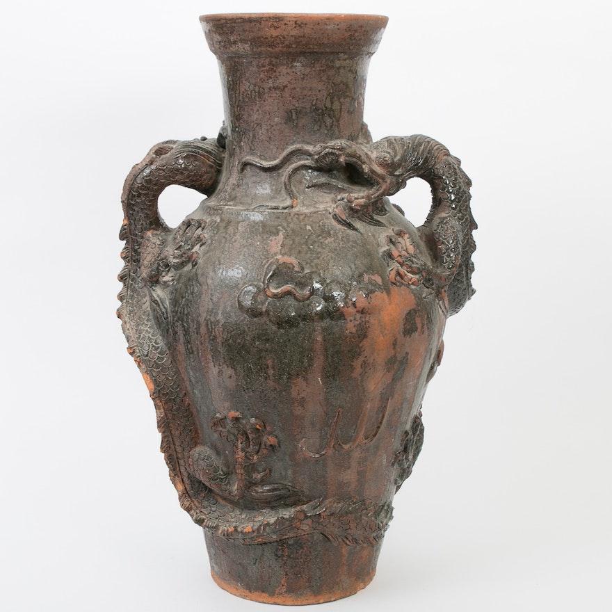 Chinese Glazed Terracotta Floor Vase With Dragon Handles Ebth