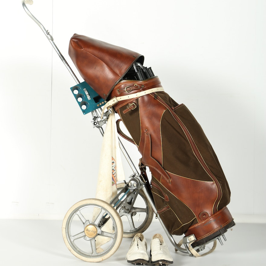 Vintage Golf Clubs With Pull Cart And Accessories