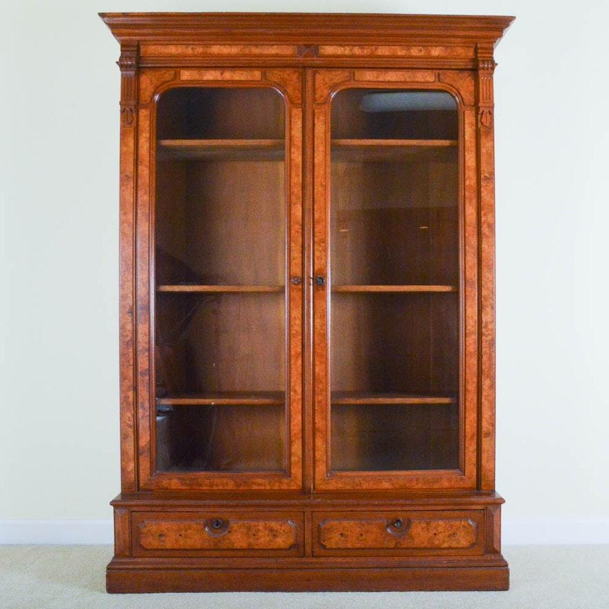 Antique Glass Door Bookshelf Cabinet ... - Antique Glass Door Bookshelf Cabinet : EBTH