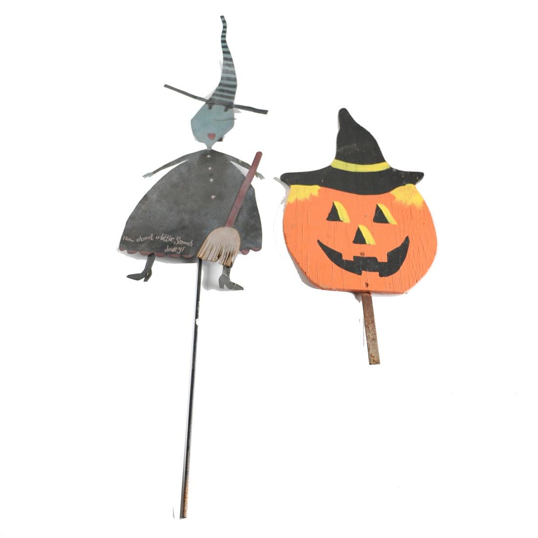 Pair of Halloween Garden Figurines