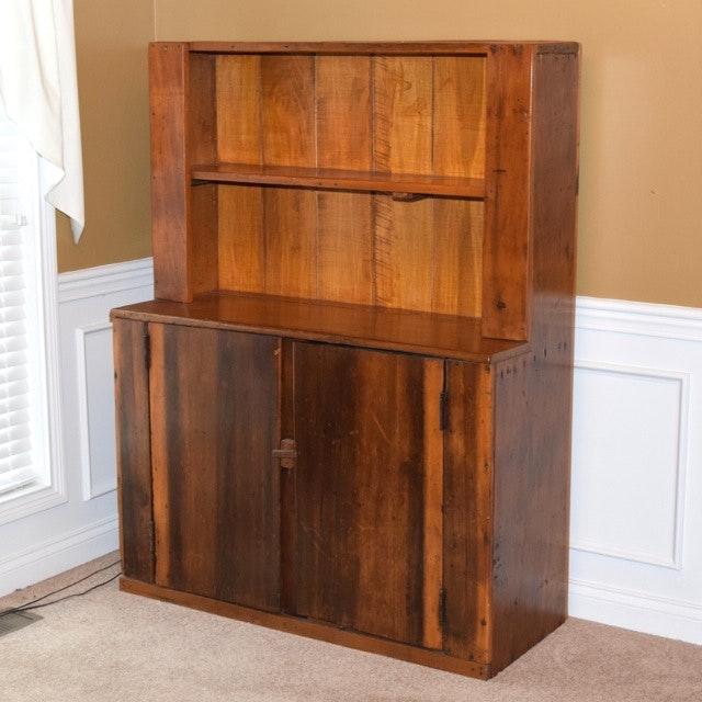 Antique Handmade Walnut Kitchen Cupboard
