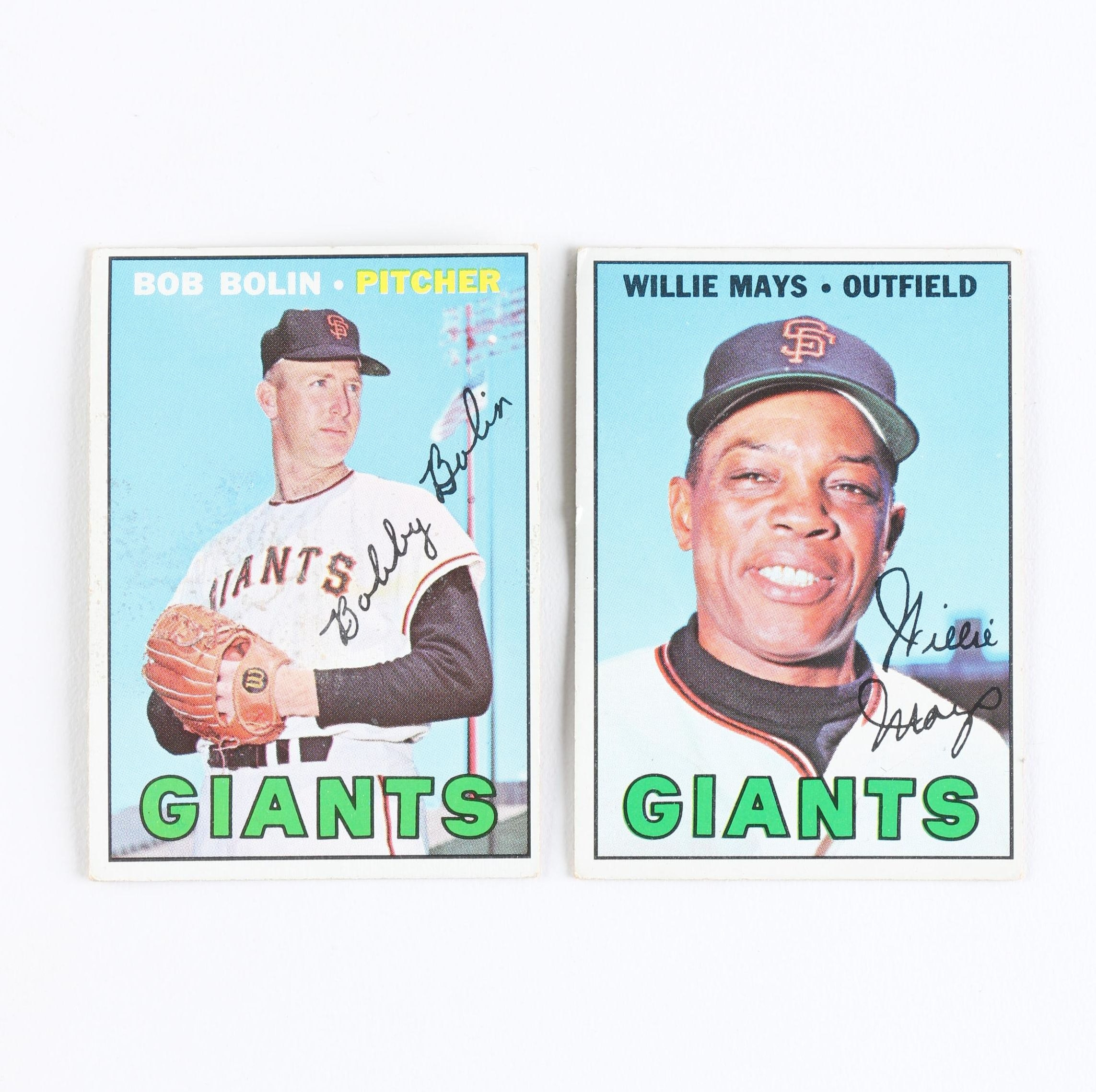 1962 Topps Giants Willie Mays and Bob Bolin Cards