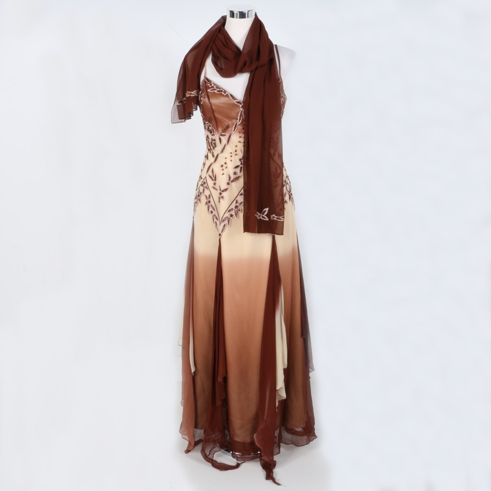 Femme Hand Beaded and Silk Gown