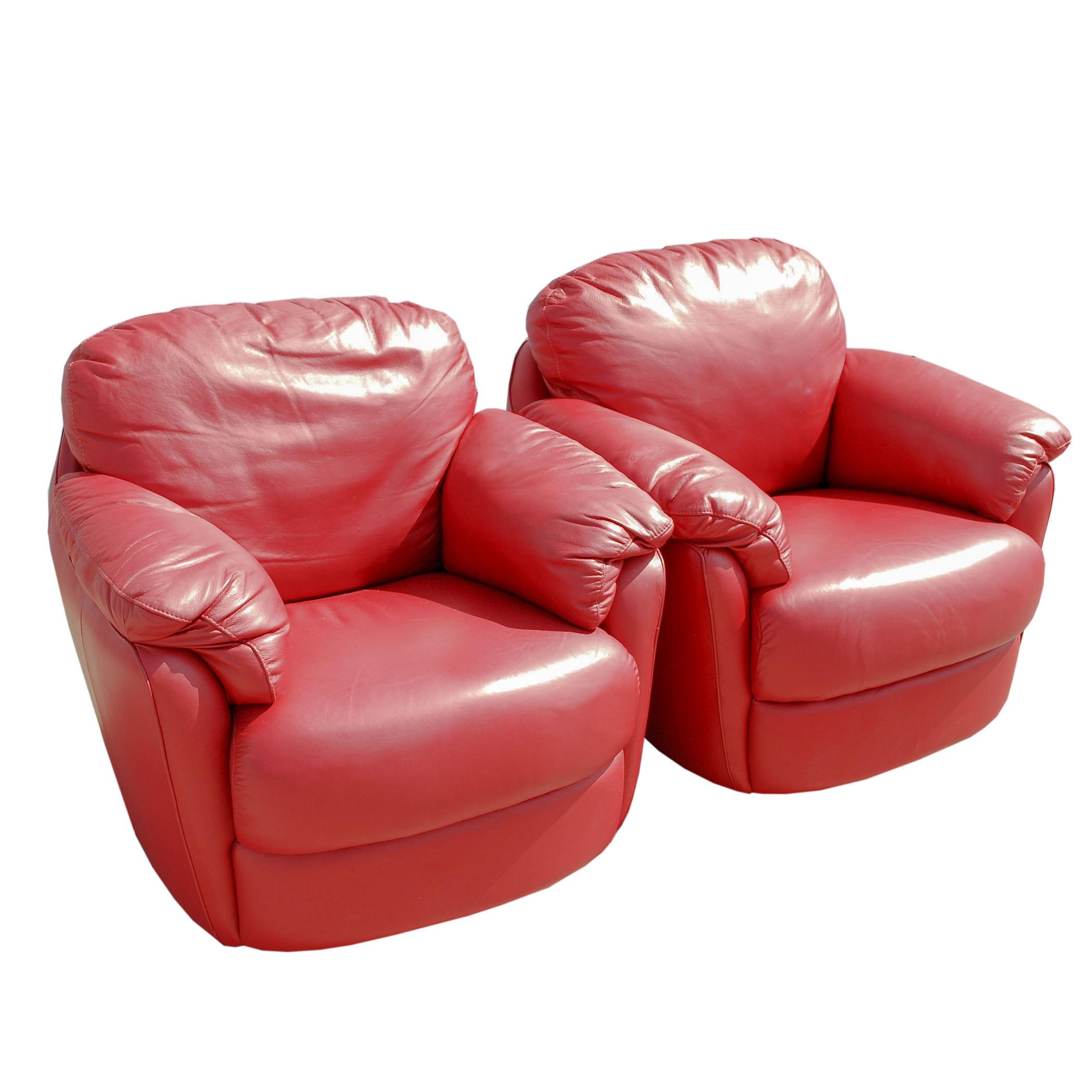 Pair of Natuzzi Red Leather Swivel Rockers