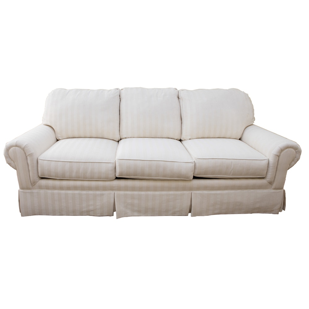 Sealy White and Cream Striped Pullout Couch