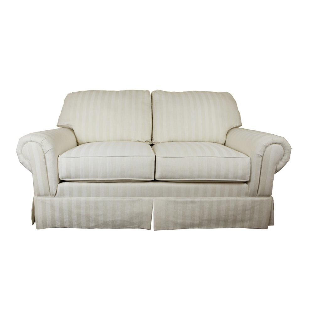Sealy White and Cream Striped Love Seat