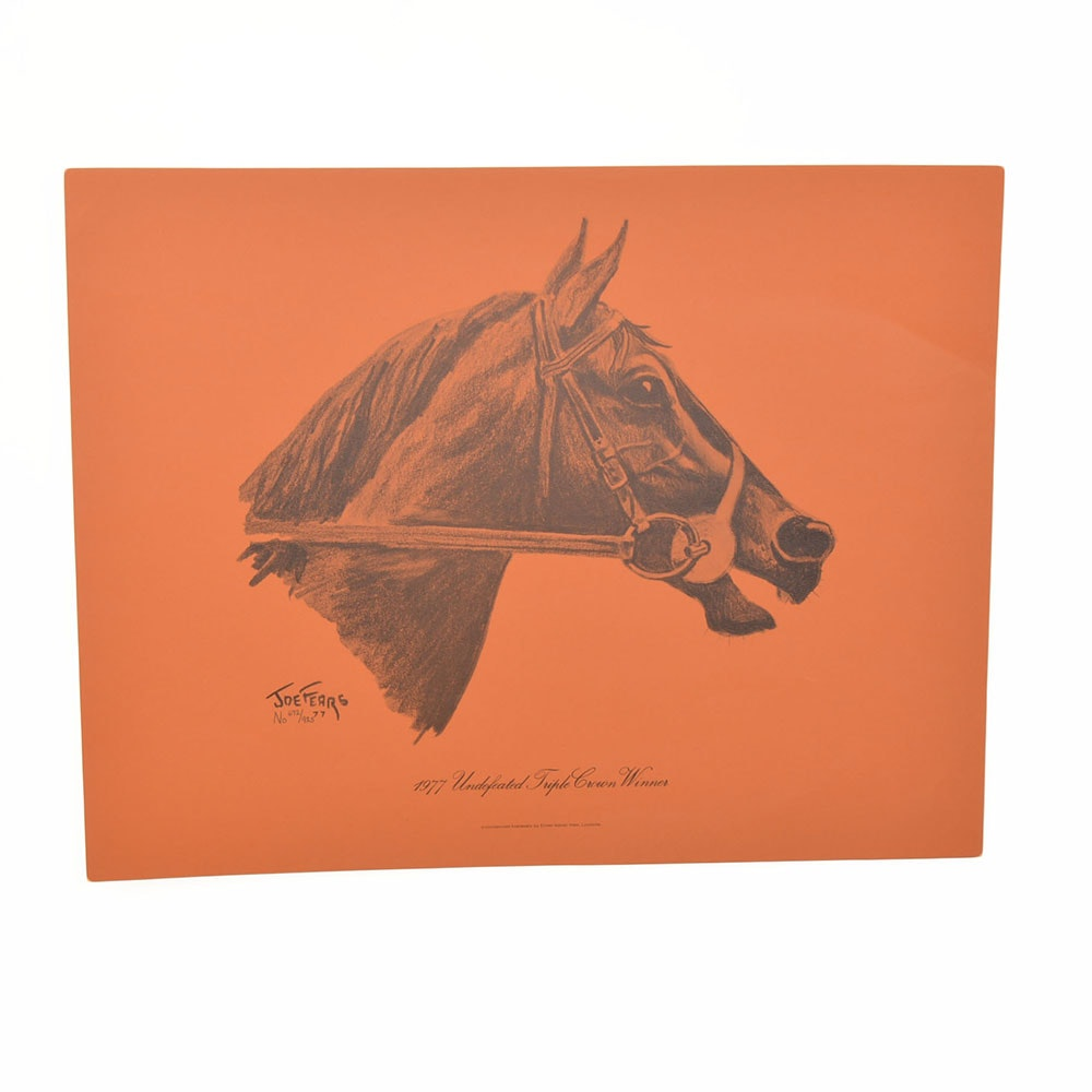 "Joe Fears Limited Edition Offset Lithograph ""1977 Undefeated Triple Crown Winner"""
