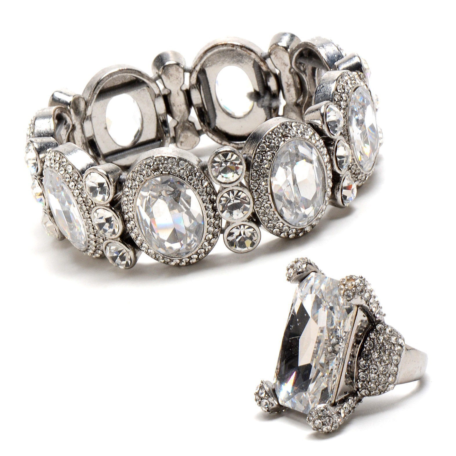 "Embellished Silver Tone Bracelet and Matching Ring from ""Dancing for the Stars"""