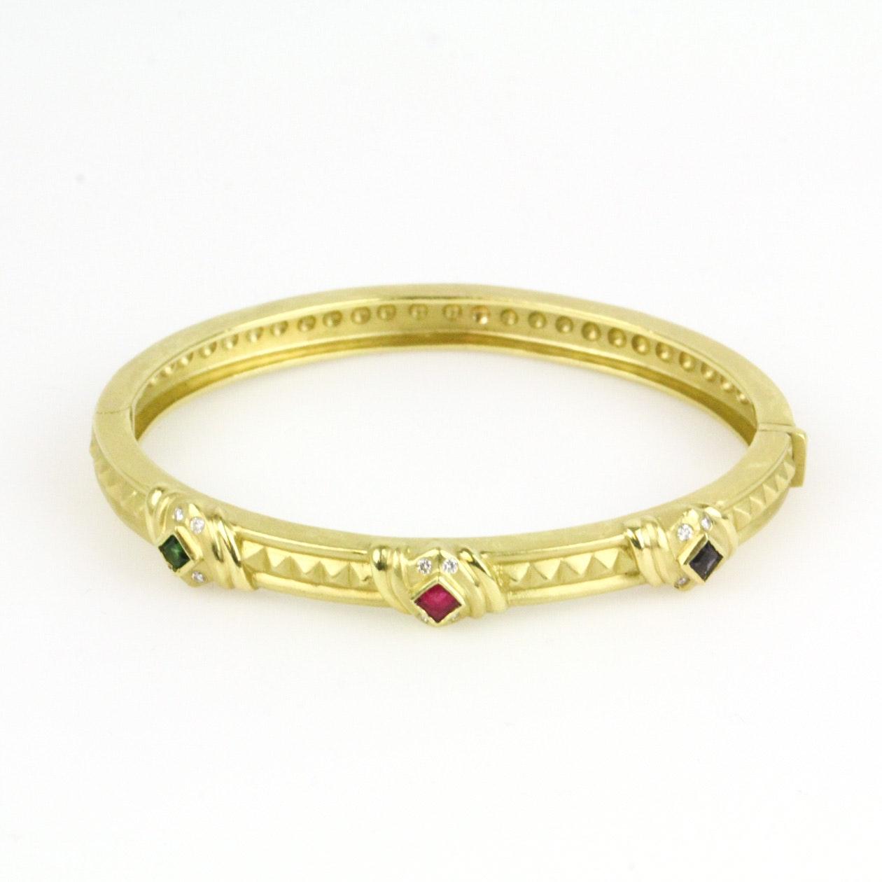 18K Yellow Gold, Sapphire, Emerald, Diamond and Ruby Clasp Bangle