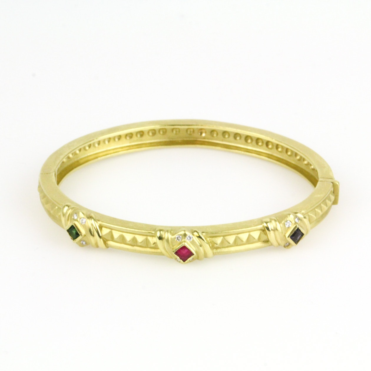 18K Yellow Gold, Sapphire, Emerald, Diamond and Ruby Clasp Bangle