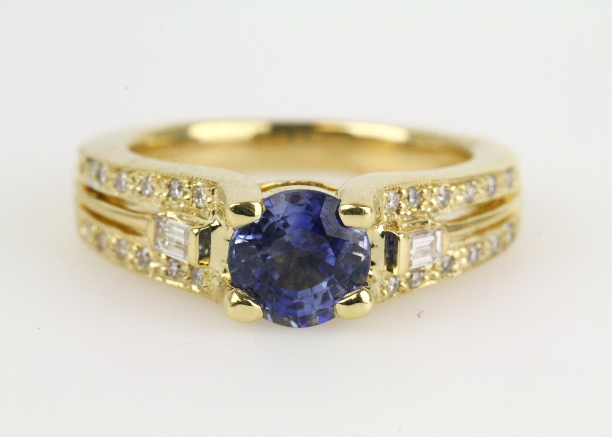 18K Yellow Gold, Sapphire, and Diamond Cocktail Ring