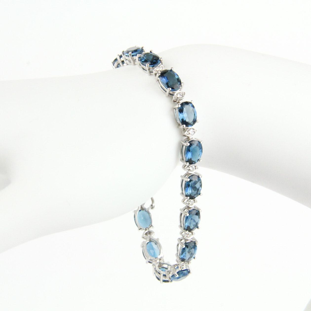 14K White Gold, Blue Topaz, and Diamond Bracelet