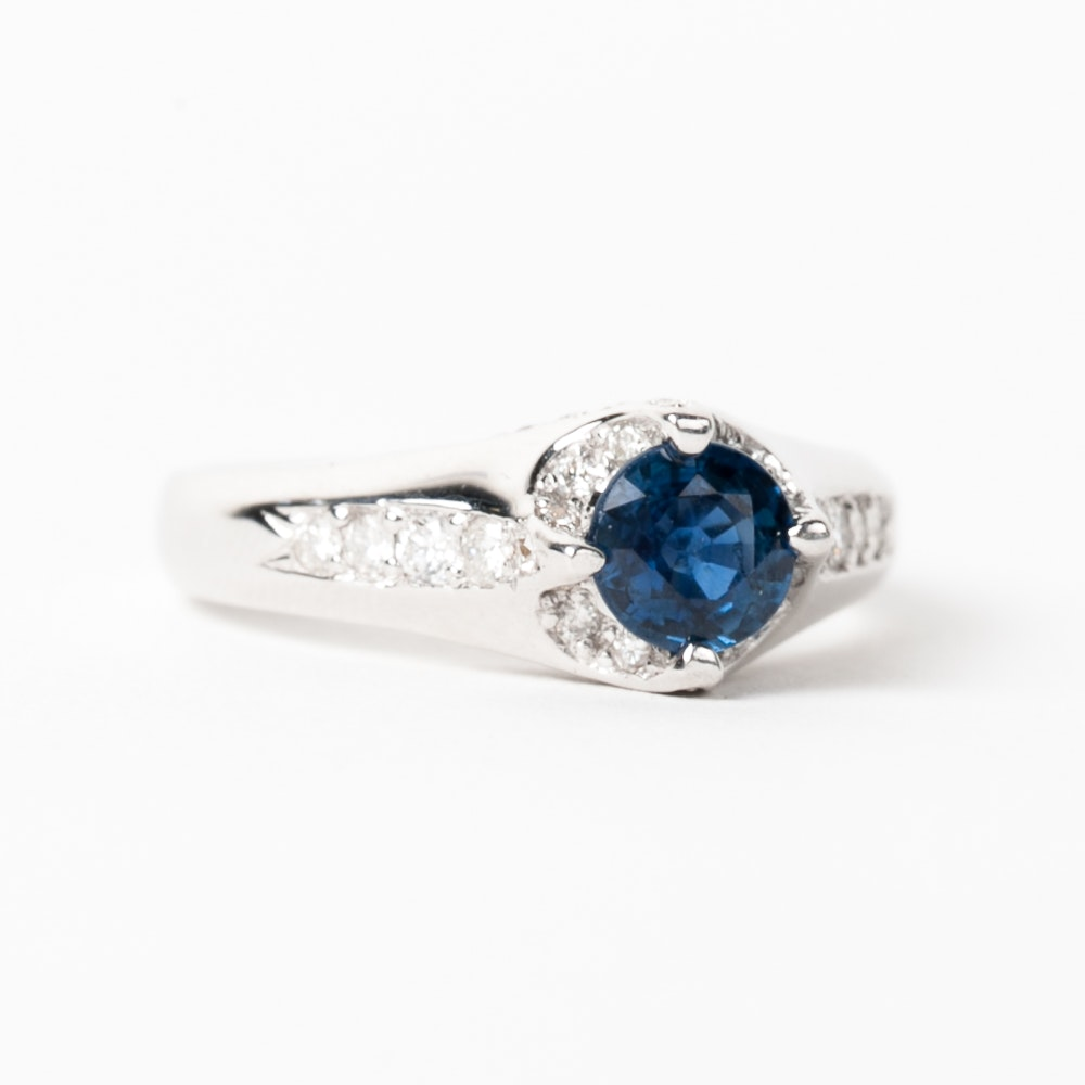 18K White Gold, Sapphire, and Diamond Cathedral Ring