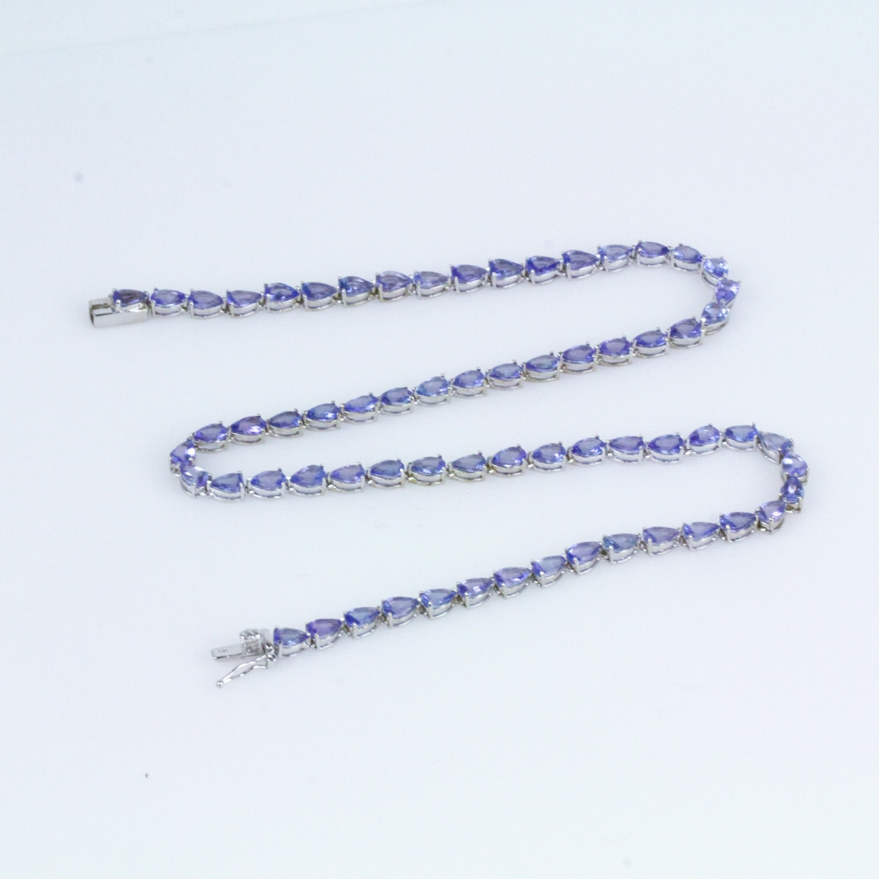 14K White Gold and Tanzanite Tennis Necklace