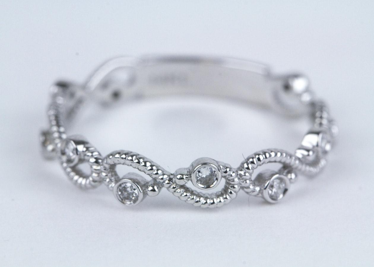 14K White Gold and Diamond Infinity Ring