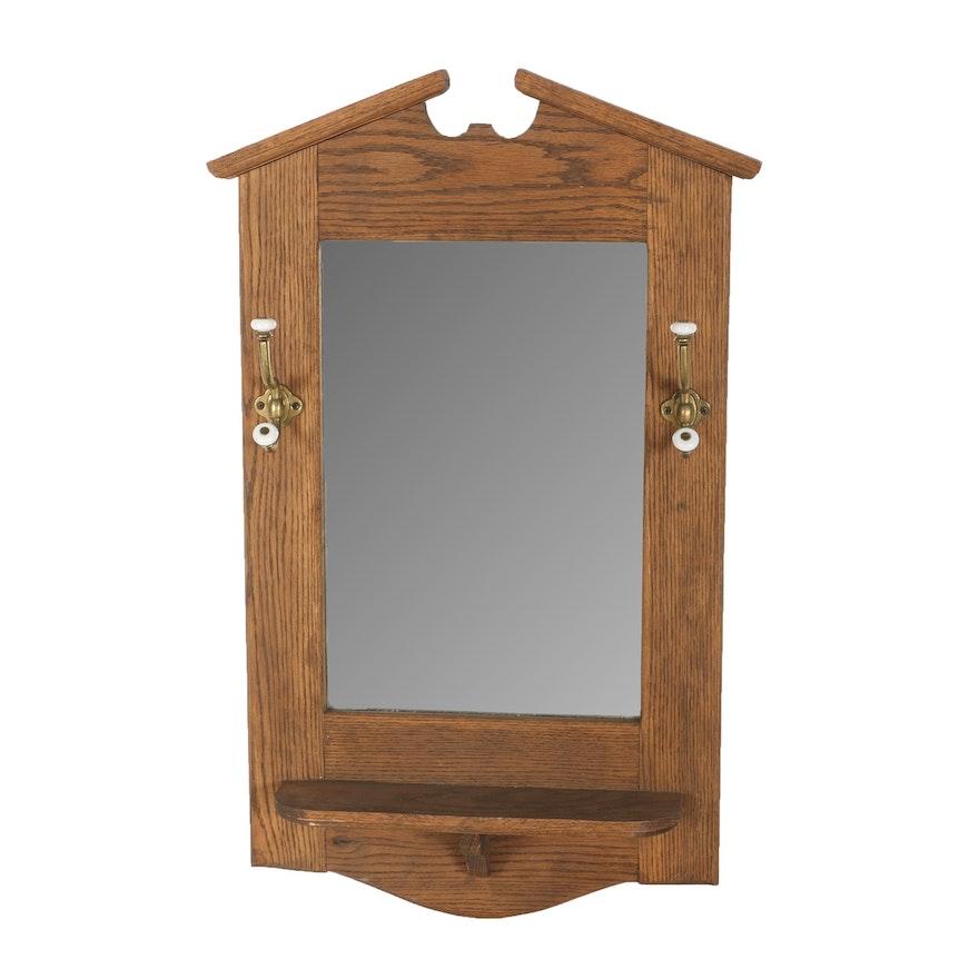Vintage Oak Framed Mirror With Coat Hooks : EBTH