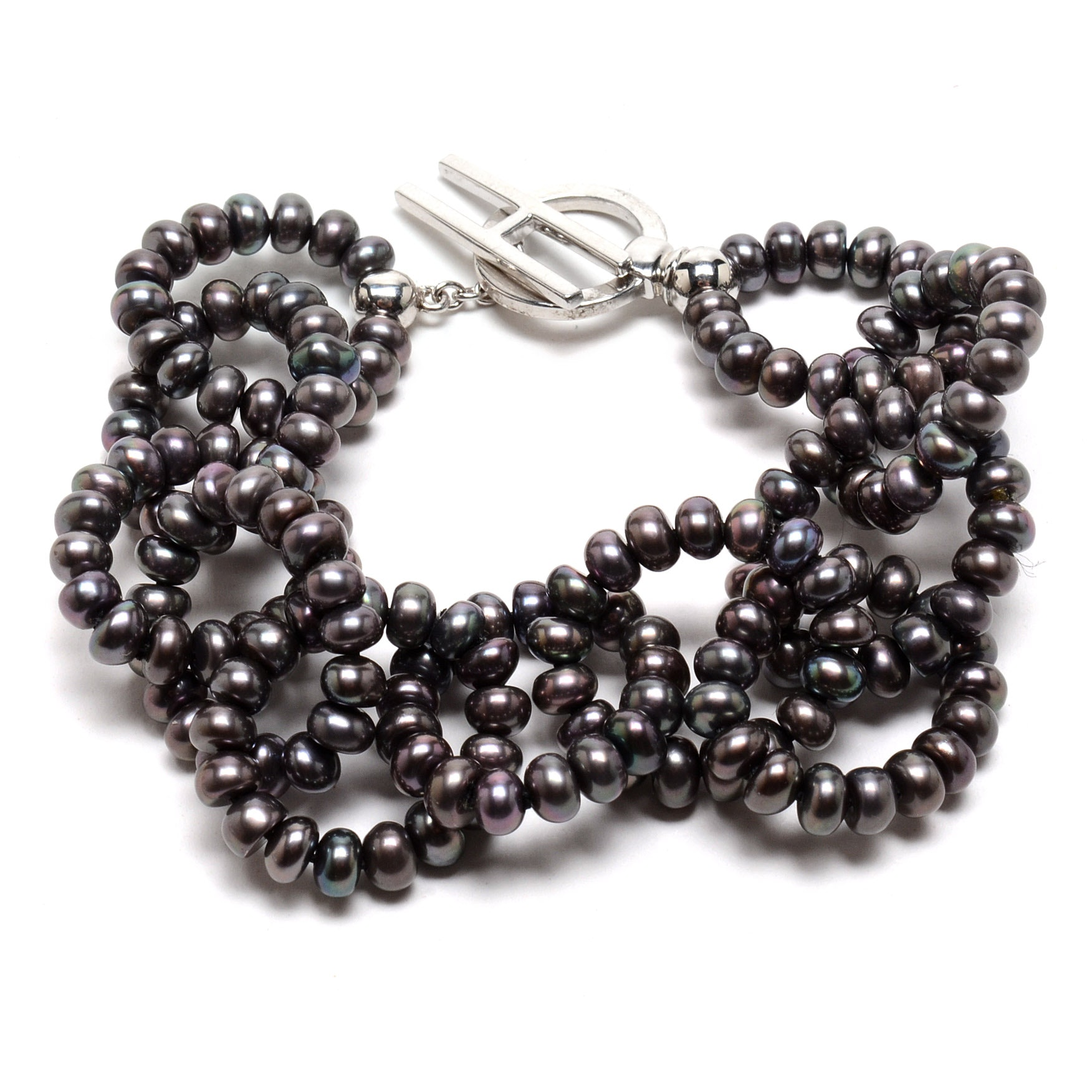 Honora Freshwater Cultured Black Pearl Linked Bracelet with Sterling Silver Clasp
