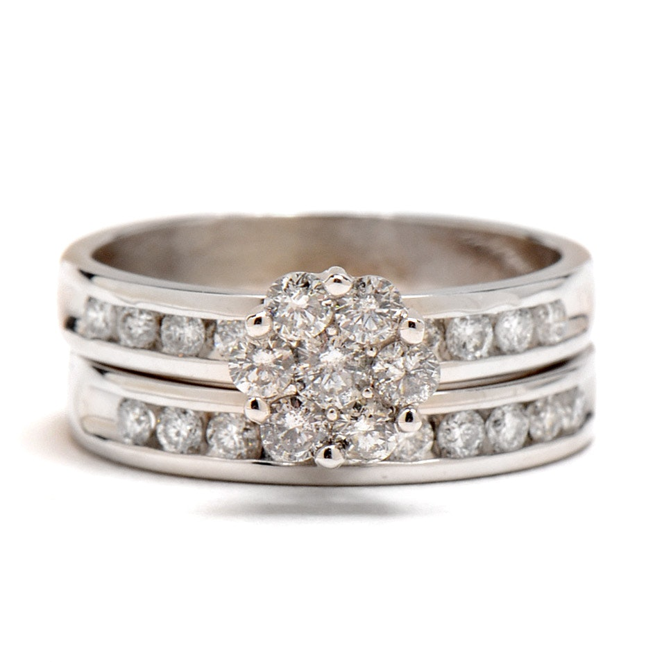 14K White Gold Diamond Wedding Ring Set