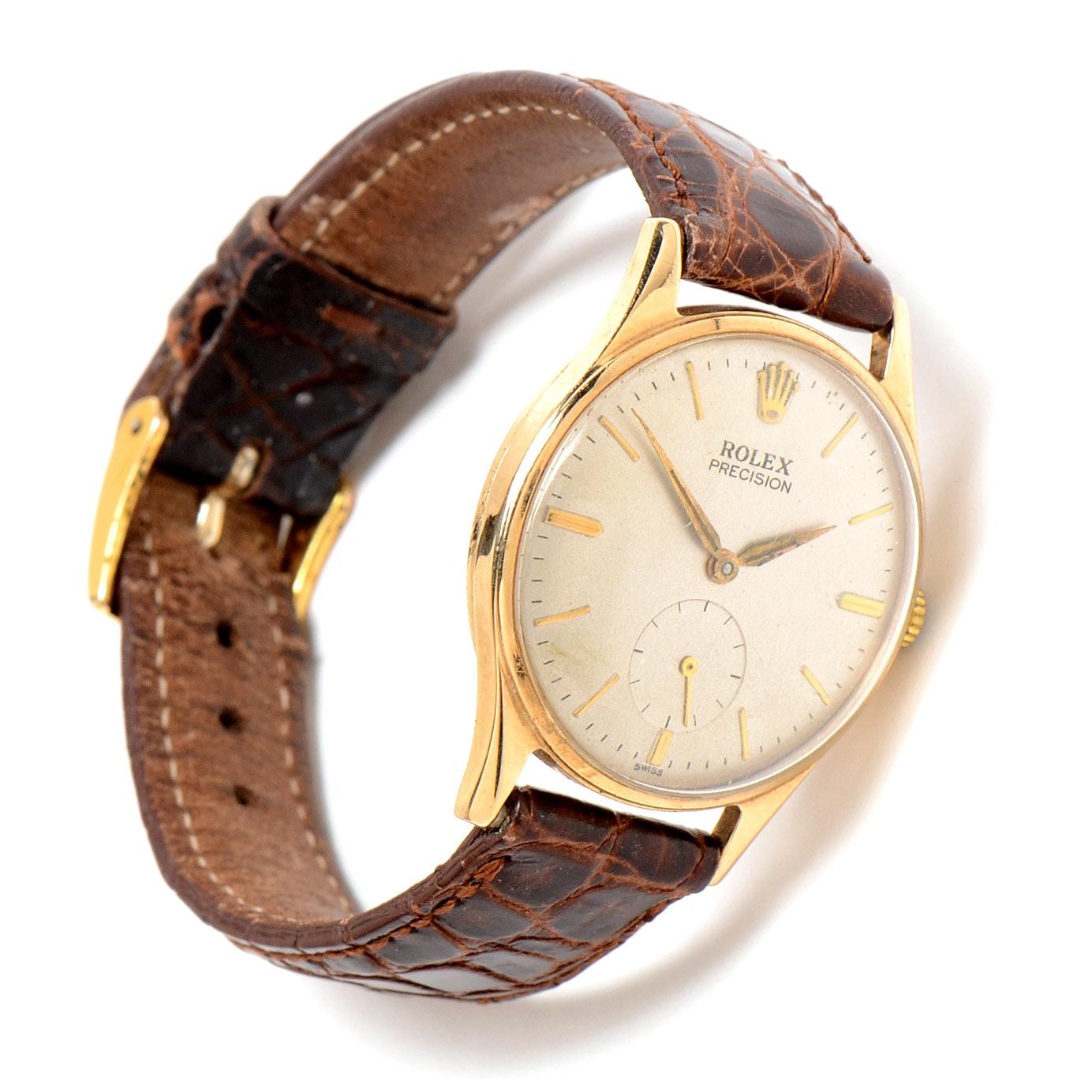 9K Yellow Gold Men's Rolex Precision Wristwatch