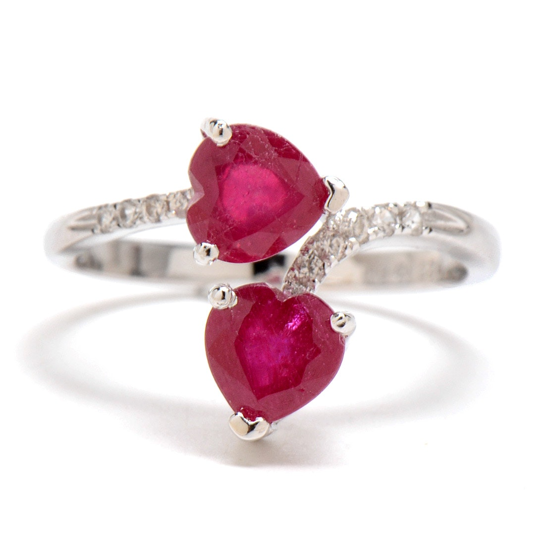 Sterling Silver Heart Shape Ring with Glass Filled Rubies and White Zircons