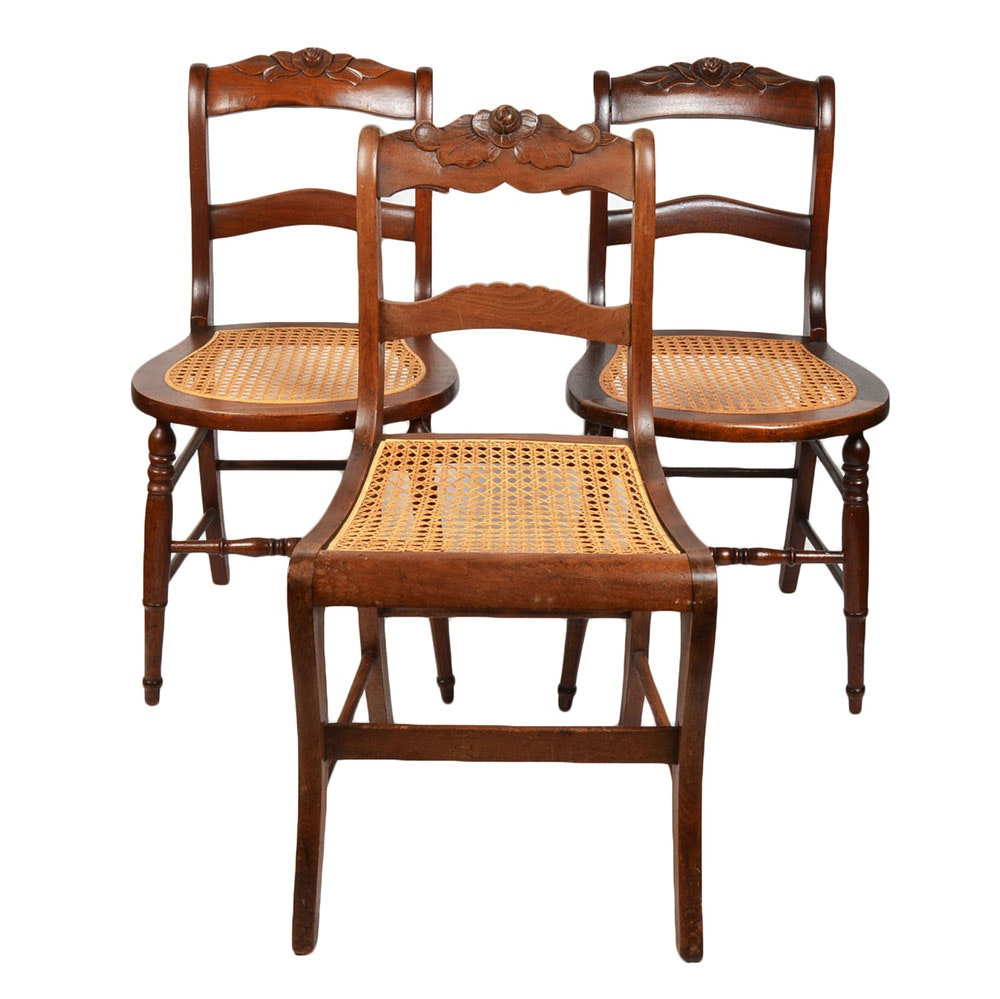 Antique Rose Carved And Caned Side Chairs ...