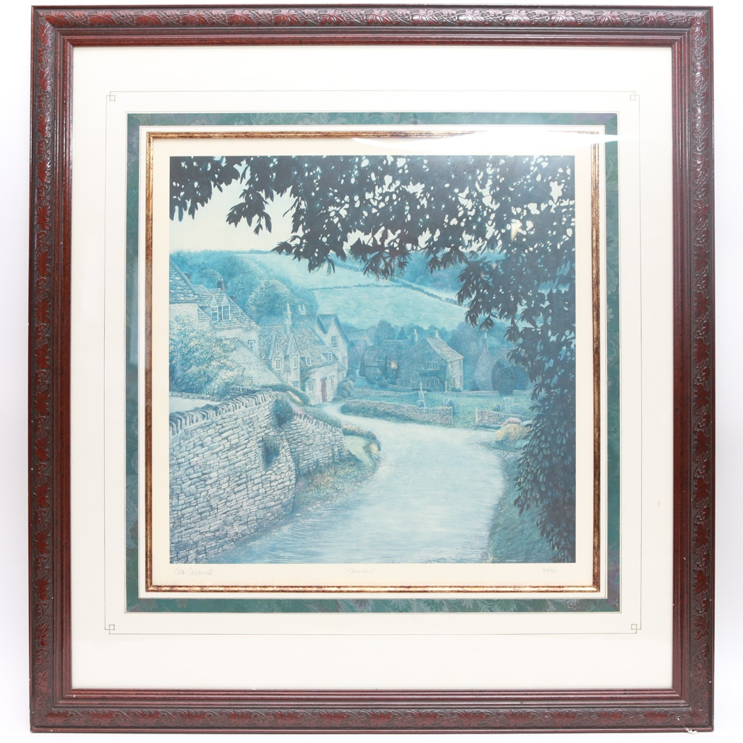 """Tom Coldwell """"Snowhill"""" Limited Edition Lithograph"""