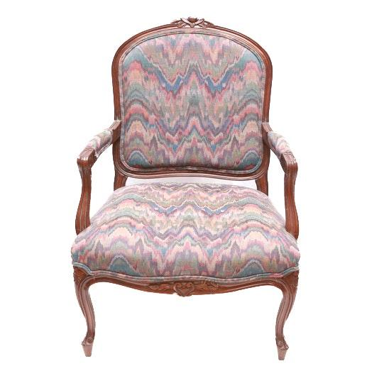 Vintage Carved Wood Armchair
