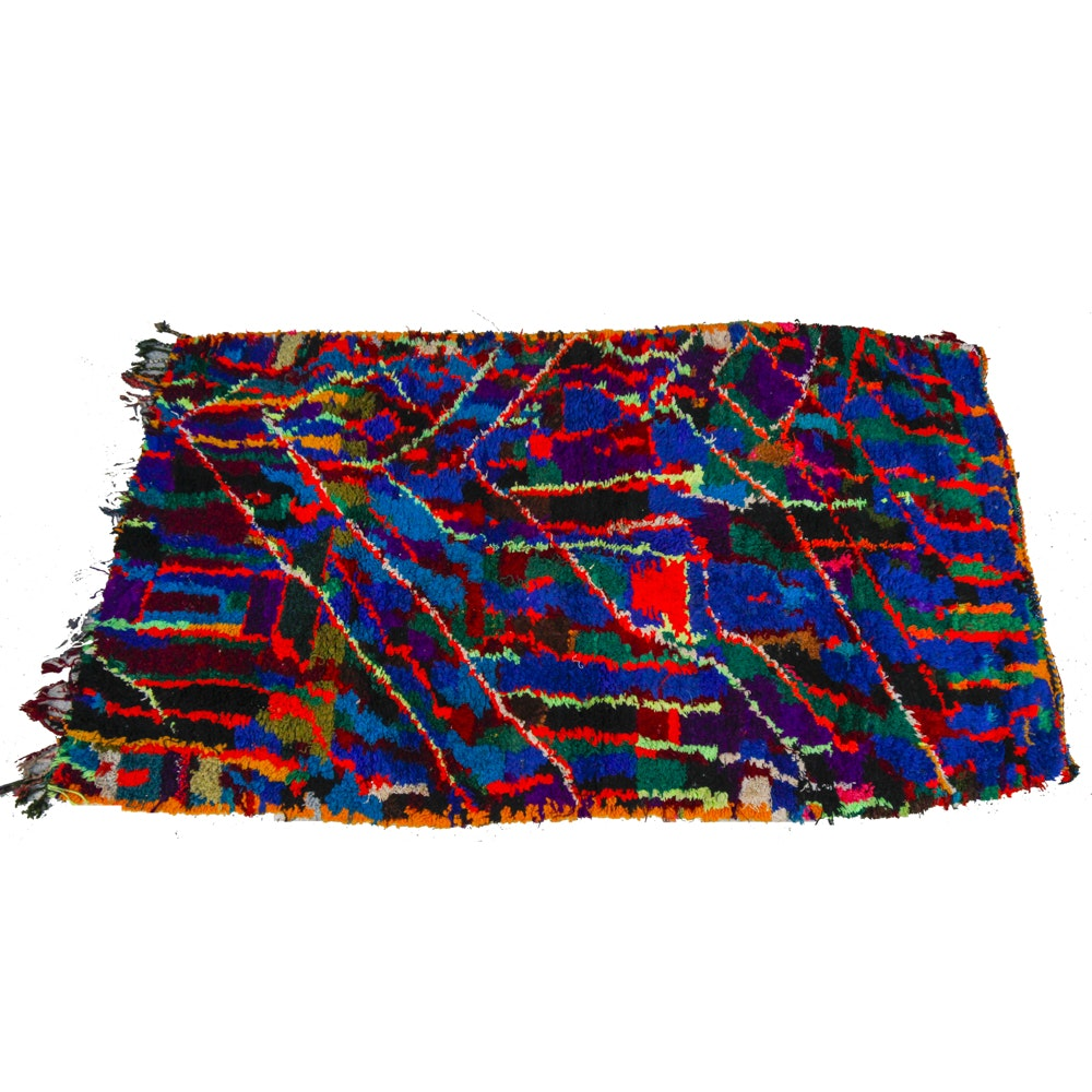 Vintage Handwoven Moroccan Multi-Colored Shag Rug