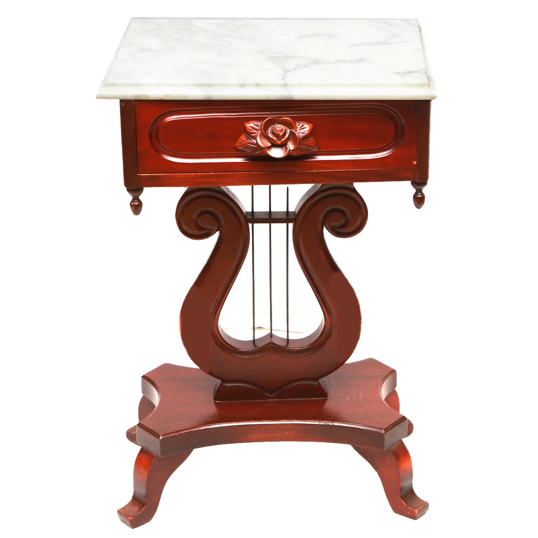 Neoclassical Style Lyre End Table With Italian Marble Top ...
