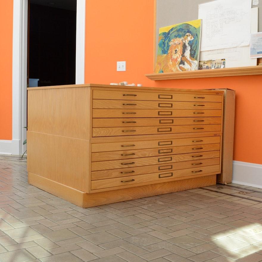 Mayline 10 drawer oak flat blueprint cabinet ebth mayline 10 drawer oak flat blueprint cabinet malvernweather Images