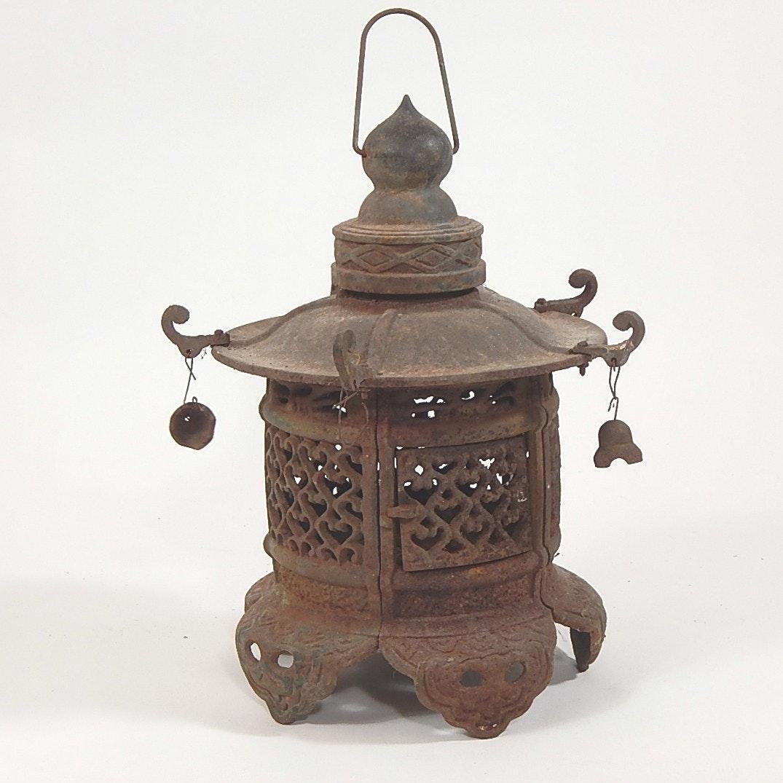Mid Century Cast Iron Hanging Garden Pagoda Lantern ...