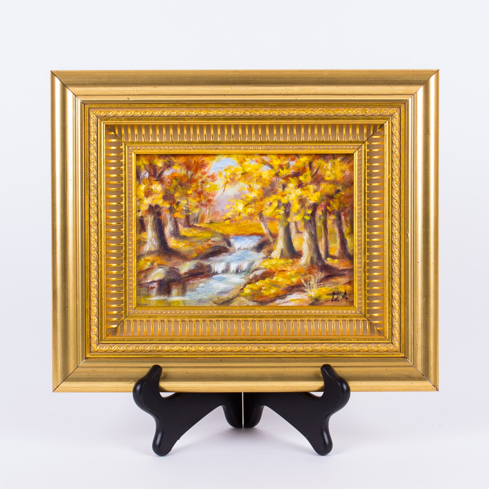 Framed Wooded Landscape Oil Painting on Canvas