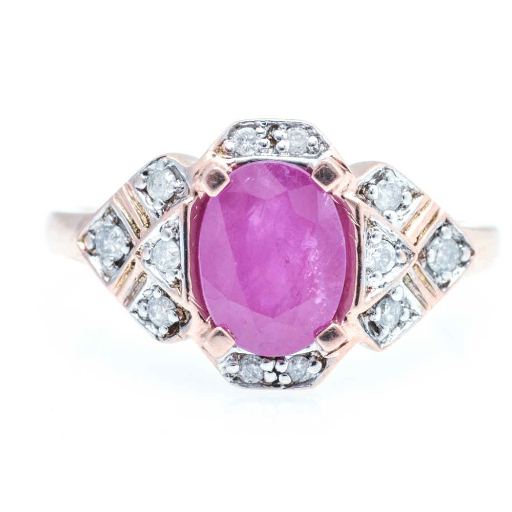 10K Rose Gold Ruby and Diamond Ring