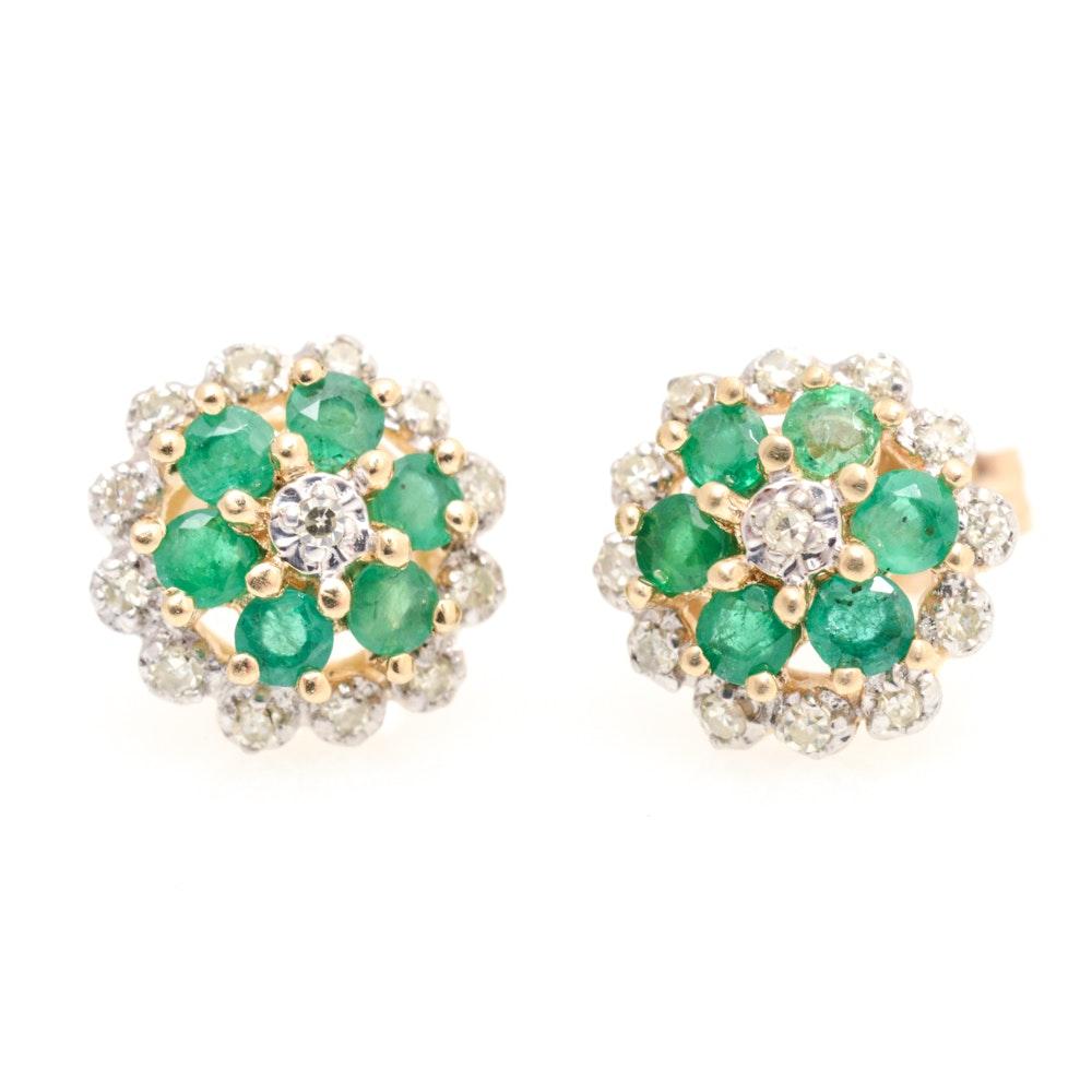 14K Yellow Gold, Diamond and Emerald Earrings