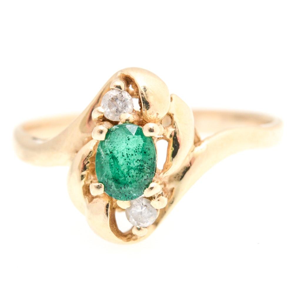 14K Yellow Gold, Emerald and Diamond Ring