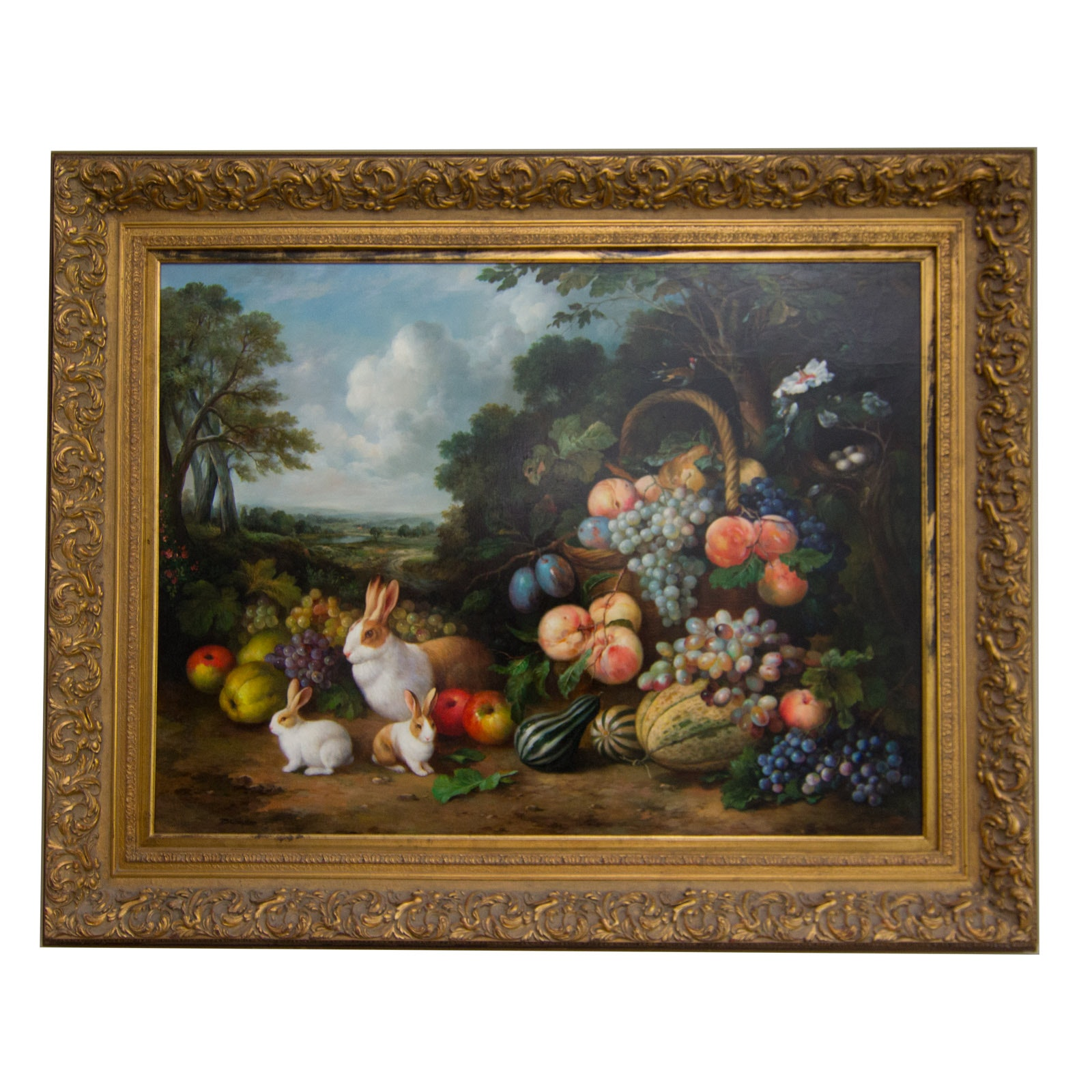 Gerhard Bluhm Animal and Fruit Still Life Oil Painting on Canvas