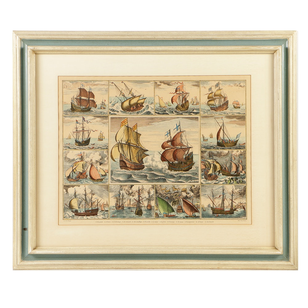 Colored Etching on Paper of Thirteen Ships After Pieter Bruegel