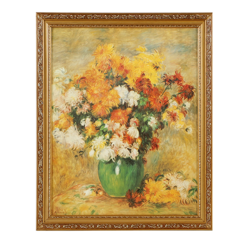 "After Pierre Auguste Renoir Offset Lithograph ""Vase of Chrysanthemums"""