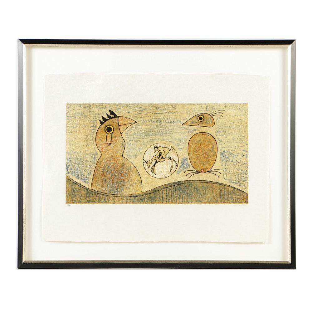 """Max Ernst Lithograph on Paper """"Oiseaux Souterrains"""""""