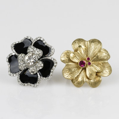 Pair of Lia Sophia Floral Statement Rings