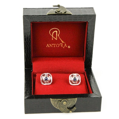 Antora Sterling Silver, Quartz Crystal and Sapphire Cufflinks