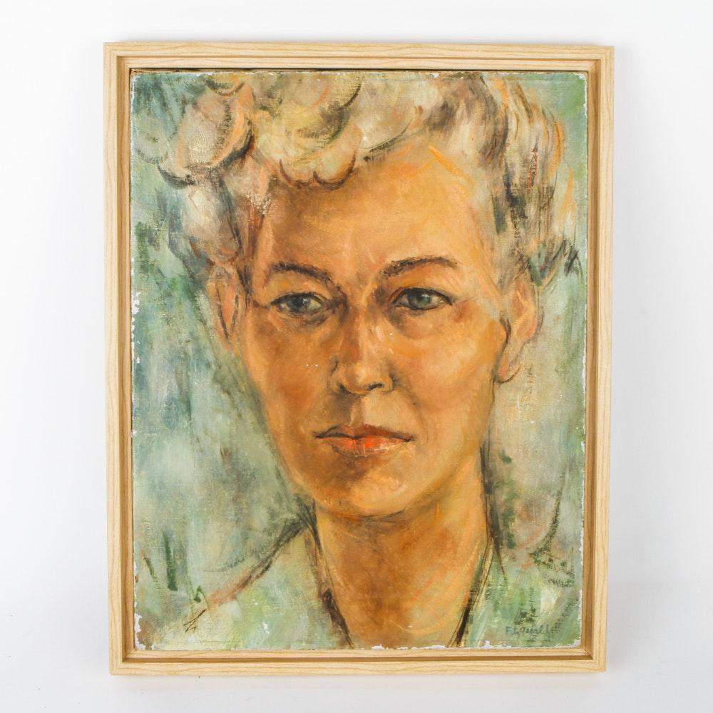 Oil on Canvas Portrait of Woman