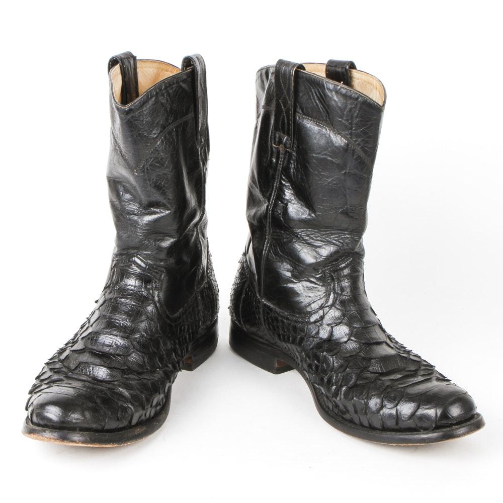 Men's Vintage Snakeskin Leather Roper Boots