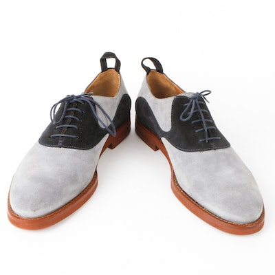 Men's Black Fleece by Thom Browne Blue Suede Saddle Oxford Shoes