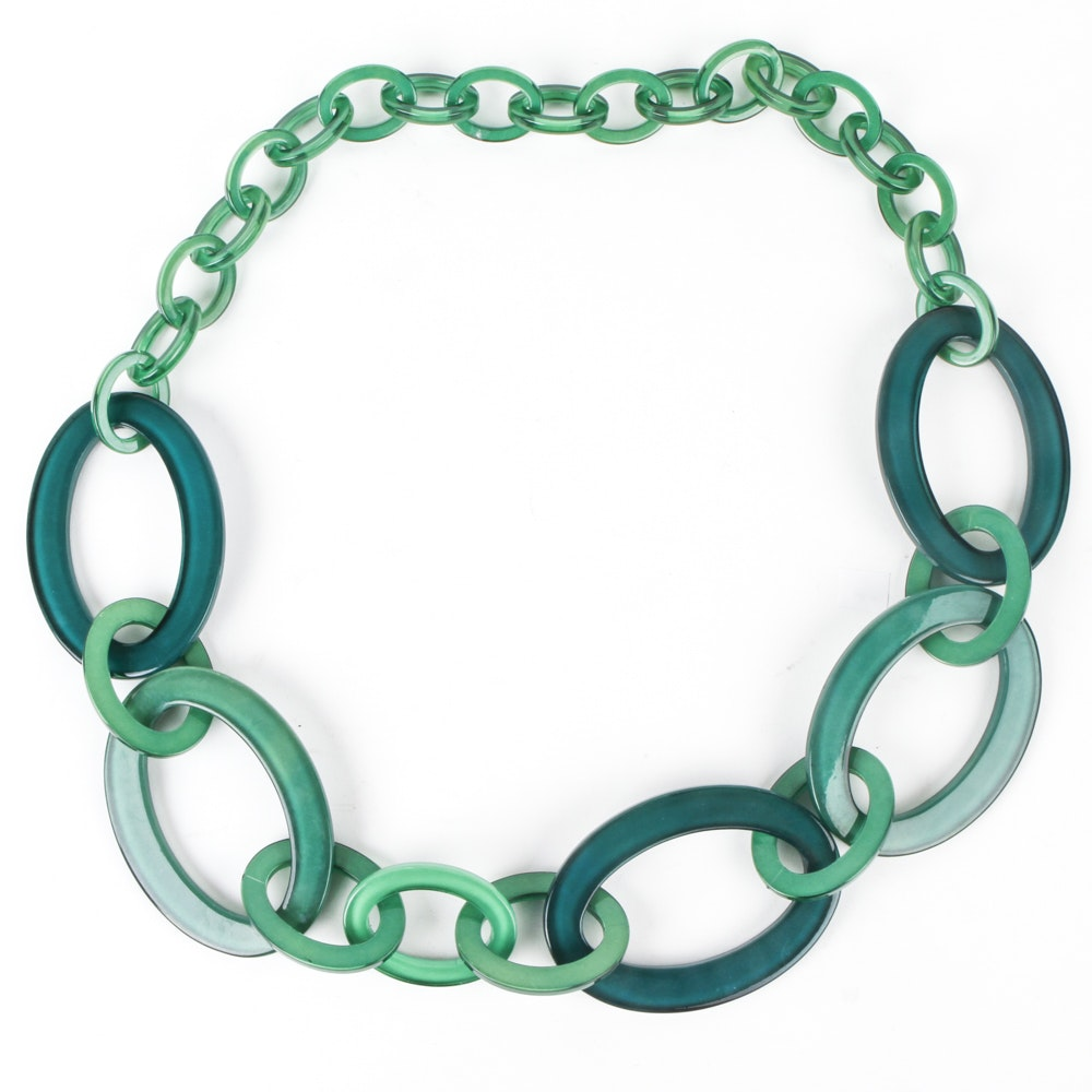 Green Lucite Link Necklace