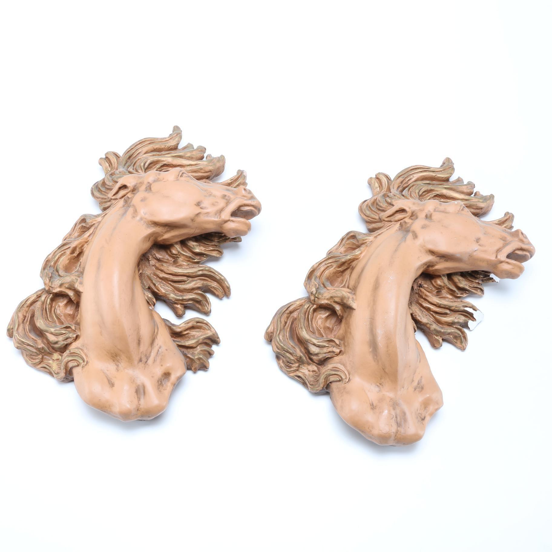 Horse Heads Plaster Sculpture