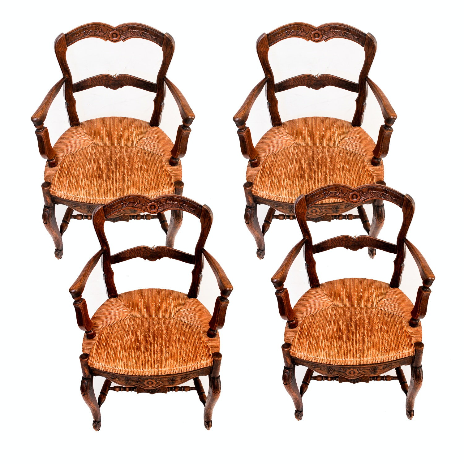 Set of Circa 1890s French Walnut Country Style Armchairs