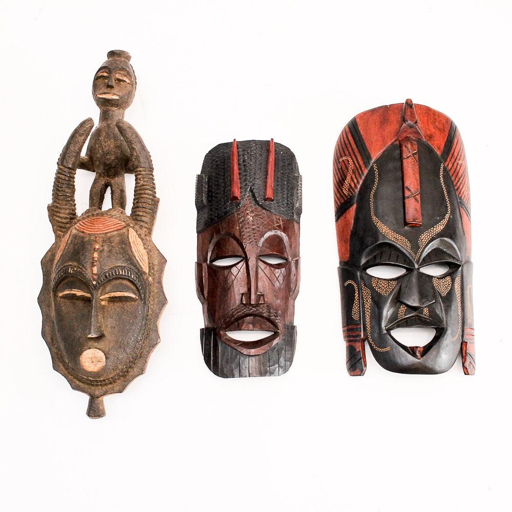 Hand-Carved Wooden African Masks